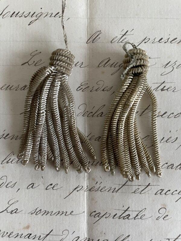 "Pair-Vintage Antique French Silver Metallic Bullion 2 ""Tassels Fringe"