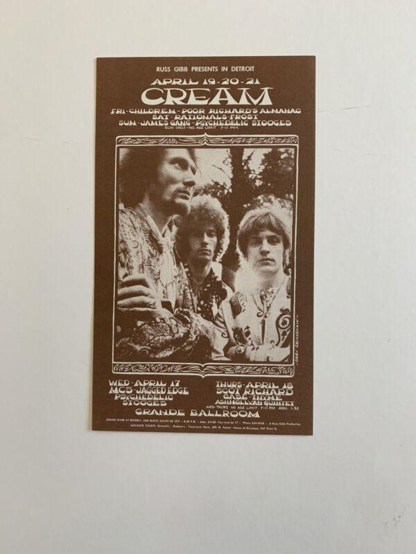 Cream And MC5 At The Grande Ballroom Original 1968 Concert Postcard