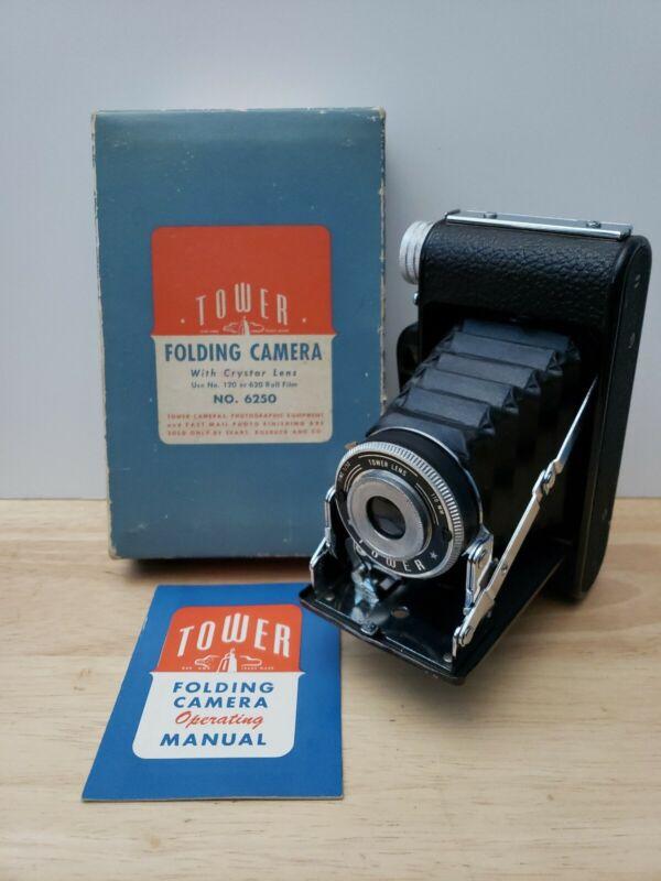 Tower 6250 - Sears Folding Camera - Original Manual - Original Box - Vintage