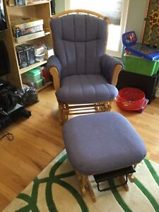 Dutailier solid maple rocker chair and ottoman