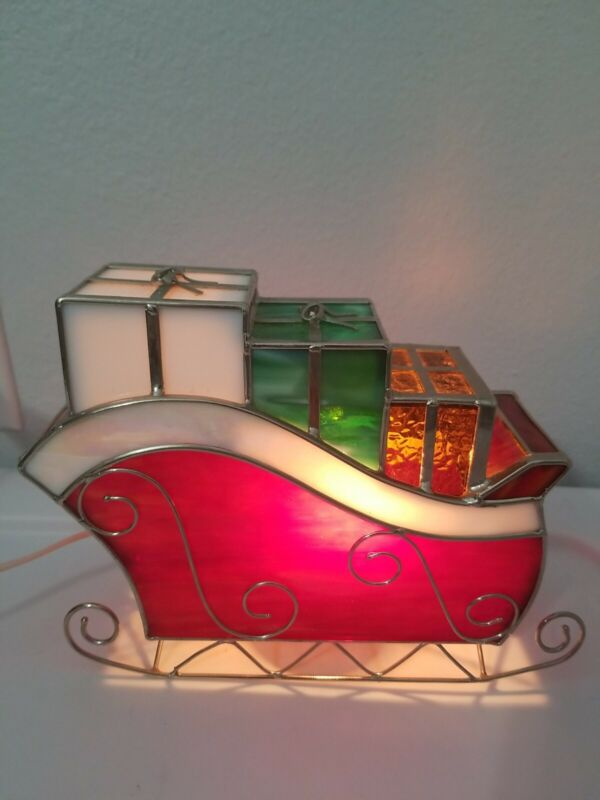 Leaded Stained Glass Lighted Lamp Christmas Sled Sleigh