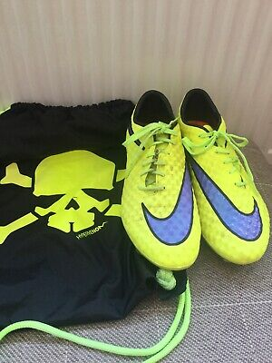 Mens Nike Hypervenom Skin Yellow Lace Up Football Boots Size 8 EU 42 Metal Studs