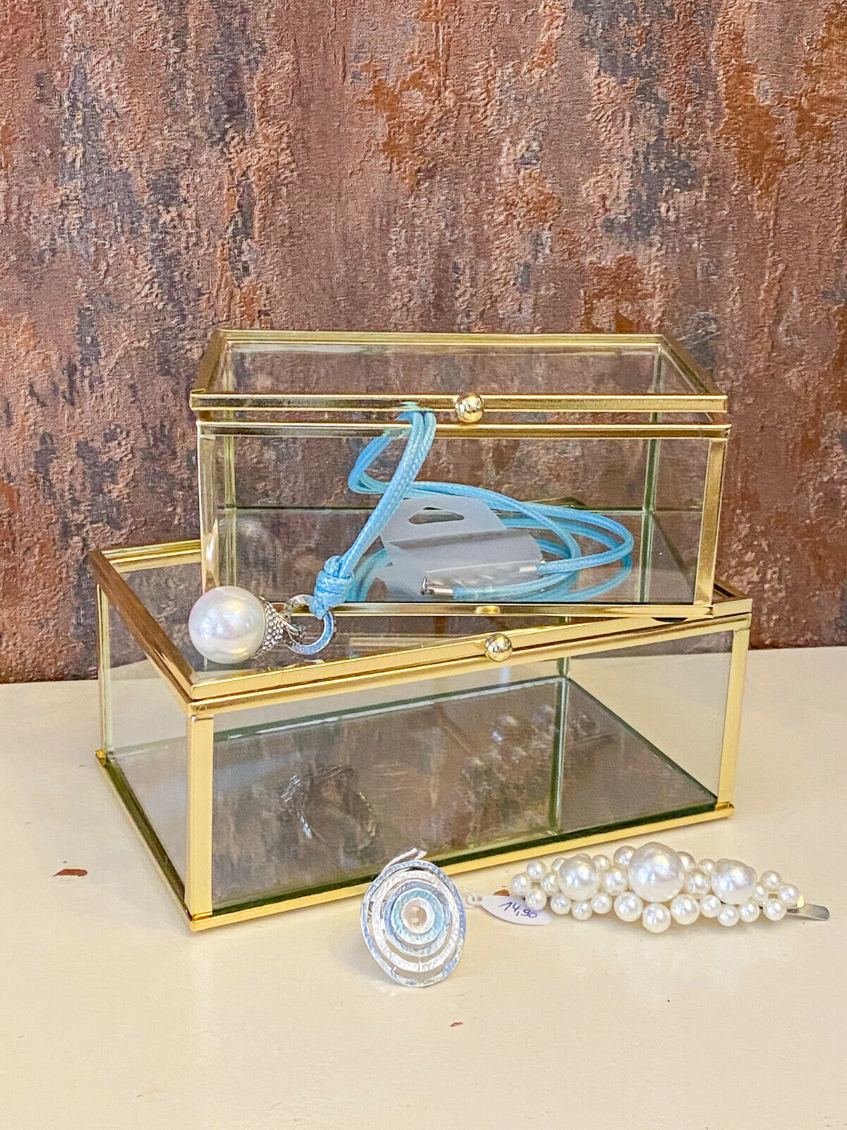 ♥ Clayre & Eef ♥ Glas - Schmuckkasten Gold Boho Hygge Glasbox Spiegel