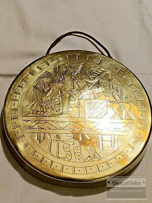 Vintage Brass Egyptian Engraved Gong 8