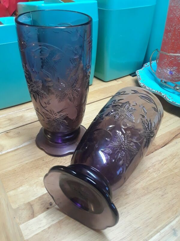 "2 Princess House Fantasia Glasses/Tumblers Amethyst Purple 7.5"" Mint"