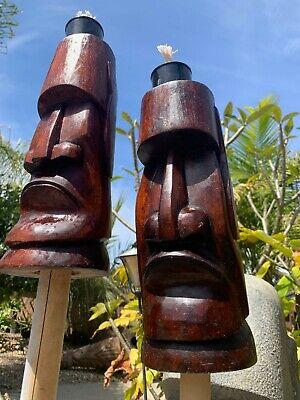 New DAMAGED SECONDS Moai Easter Island Tiki Torch set of 2 Smokin' Tikis Hawaii