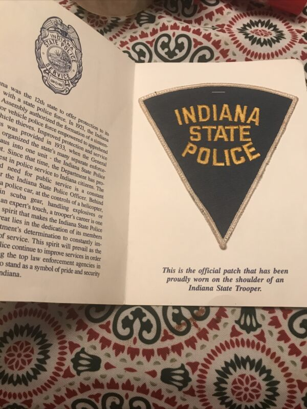 Vintage INDIANA STATE POLICE Gold Grey Indiana Police Patch Booklet RARE HTF