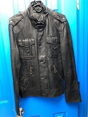 Mens MONARCHY soft leather jacket black MEDIUM