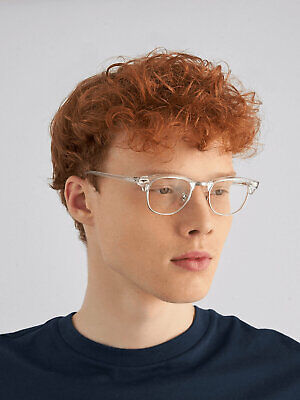 NEW Clubstyle Transparent Frame Eye Glasses Half Clear Lens Gold Hipster (Glass Transparent Square)