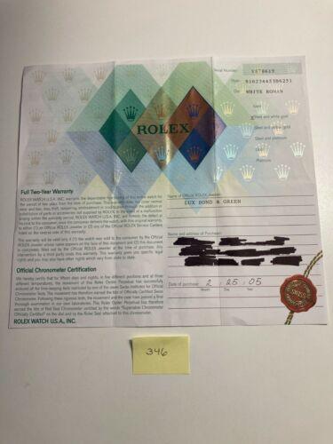 Rolex Certificate Guarantee Warranty 16234 Datejust Serial Y 564.07