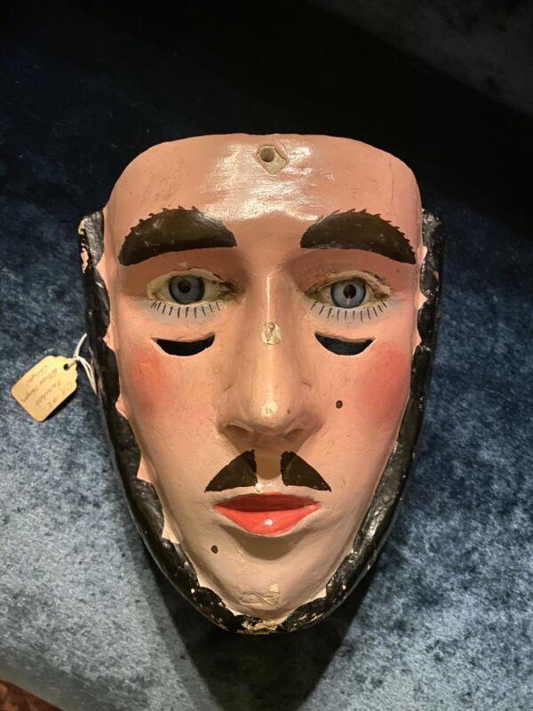 vintage mask wood carved glass eyes