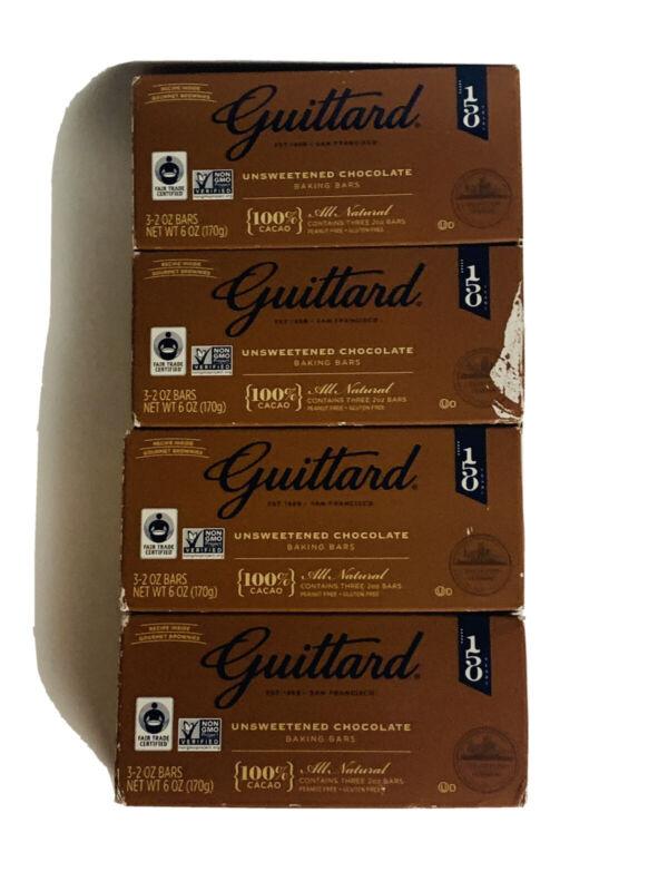 Guittard Chocolate Unsweetened 100% Cocao Baking Bar Cocoa Lot 4 - 6 Oz Bars