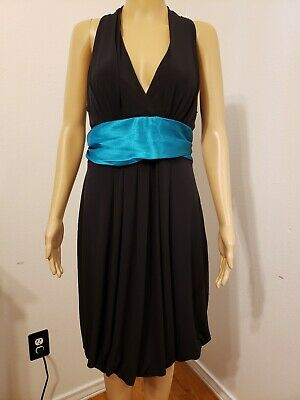 Roulette L Polyester Blend Made In China Sleeveless Flowy Flare Waist Bow Dress