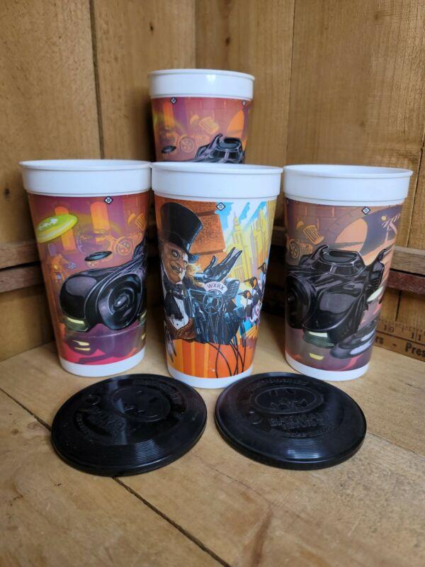 McDonald's Batman Returns Cups Lot of 4 Cups, 1992, Penguin & Batmobile 2 Lids