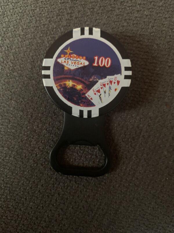 Las Vegas Poker Chip Refillable Butane Cigarette Lighter - Bottle Opener