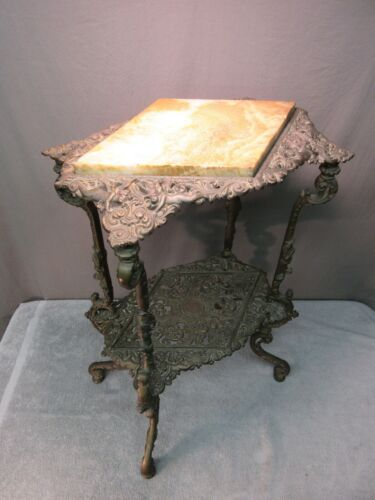 Antique Cast Iron Table w/ Marble Top (ornate metal plant stand)