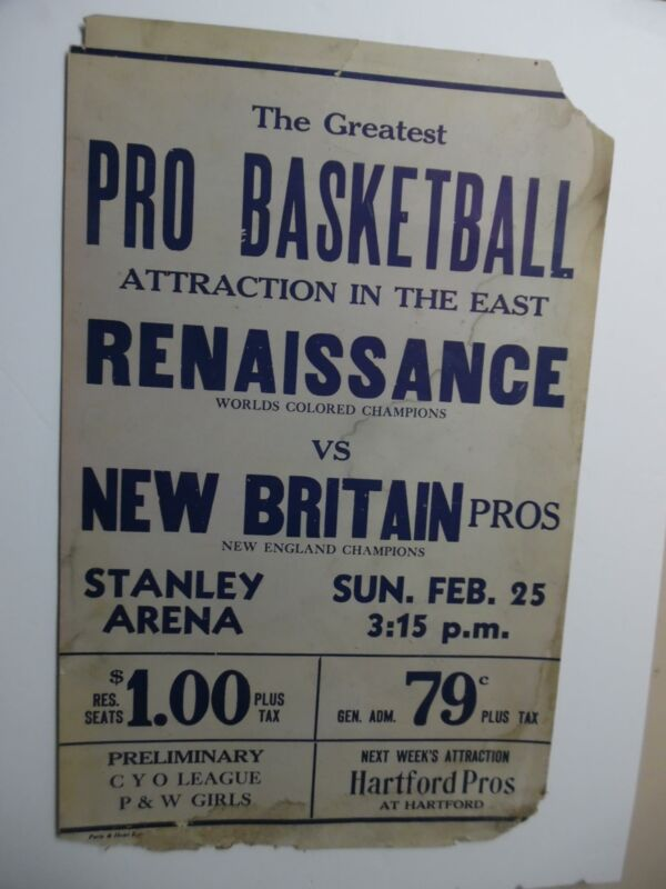 c.1940 New York Renaissance Rens Basketball Colored Champions Window Card Poster
