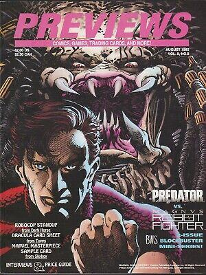 PREVIEWS AUGUST 1992 # 45 V 2 # 8 PREDATOR VS MAGNUS MARVEL MASTERPIECES CARD