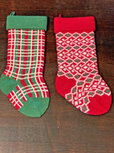 Vintage Christmas Stocking Heavy Wool Knit Scandinavian Style Lot 2