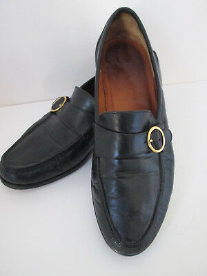 Allen Edmunds Shoes Loafer 9 5D Black Leather With Buckle Detail