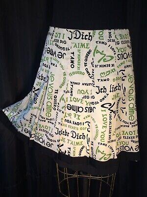 Trina Turk silk twill Skirt pleated zip 6 lined I Love you Print midi Green MCM