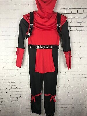 RED NINJA BOY'S COSTUME HOODED FULL BODY JUMP SUIT (AAF) - Full Body Ninja Suit