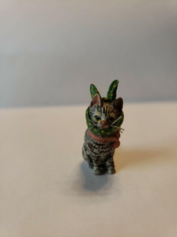 ANTIQUE VIENNA BRONZE Kitten w/ bunny ears BERGMANN COLD PAINTED, MARKED;NOS