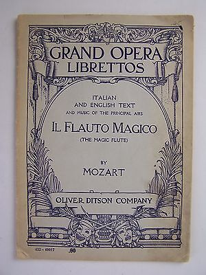 Grand Opera Librettos Collection Il Flauto Magico Mozart Songbook
