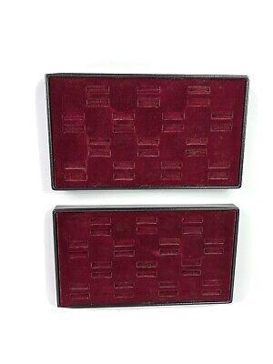 Vintage Red Velvet Ring Display Tray Lot Of 2