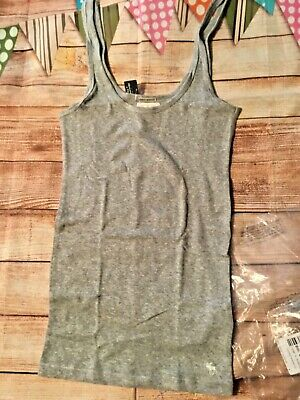 Women's Abercrombie & Fitch Tank top ribbed gray Sz large L New