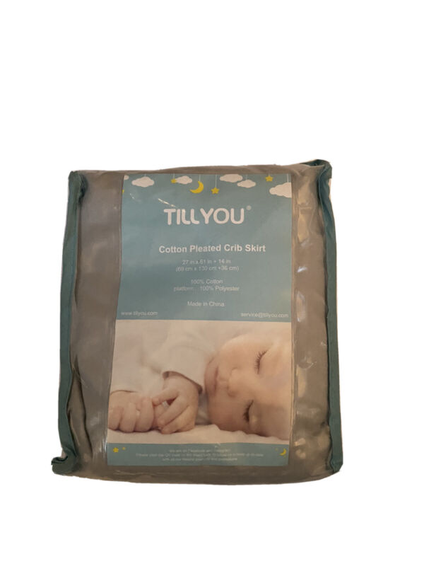 New Tillyou Crib Bed Skirt Cotton Pleated Pale Gray Baby Boy Girl NWT