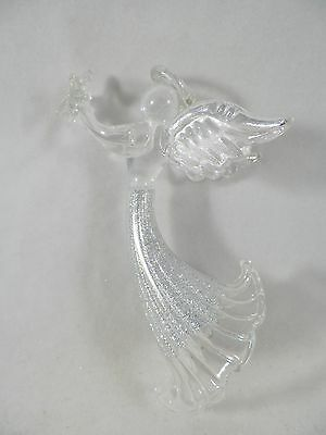 Silver Glittered Angel Holding Star Christmas Tree Ornament new holiday