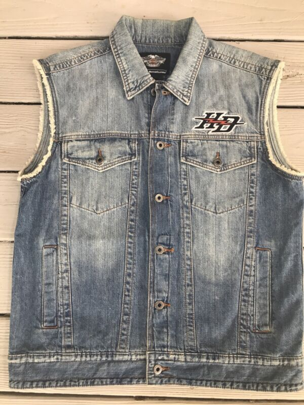 Men's Harley Davidson Embroidered Vest Front & Back Denim Motorcycle Vest Sz M