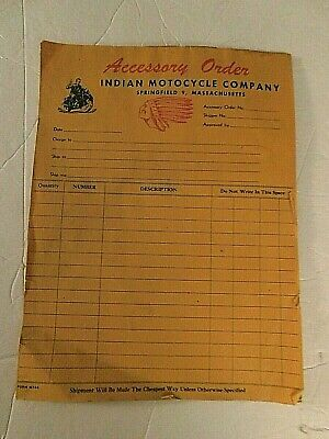 Vtg Accessory Form Indian Motocycles-Springfield Mass-1940s Era New Old 33 pcs