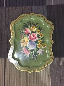 Hand painted decorative tole tray