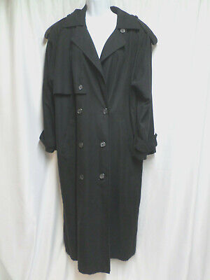 Ann Klein II Black Long Trench Coat Removable Liner Womens Size 6