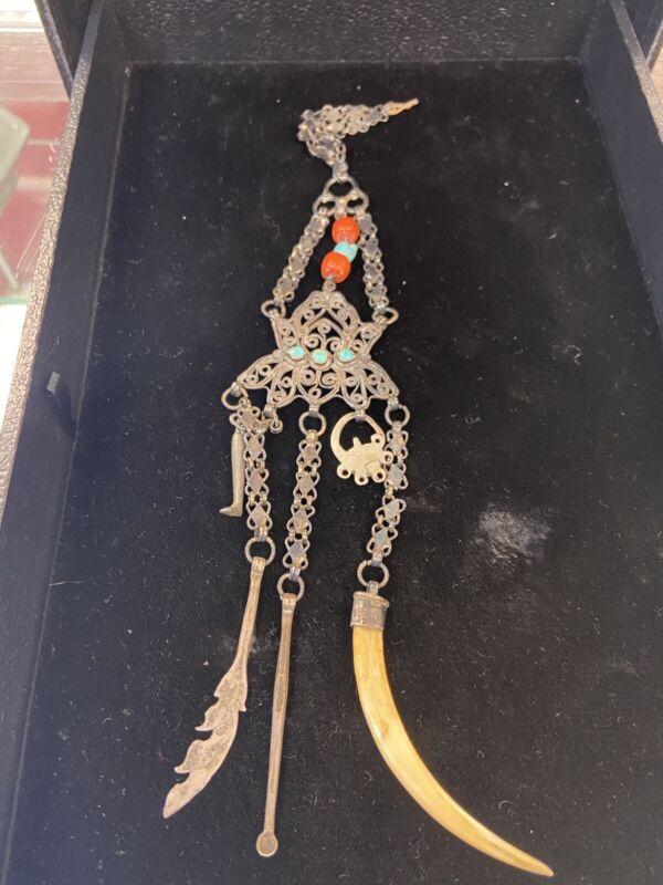 Chinese Silver link with cleaning tool set. Coral turquoise embellishment