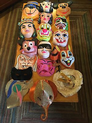 14 Vintage Children's Childs Halloween Masks & Hats & Misc. Cooper Decorations