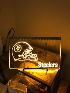 """7-1/2""""x11"""" Neon Style Hanging LED Light- Pittsburgh Steelers"""