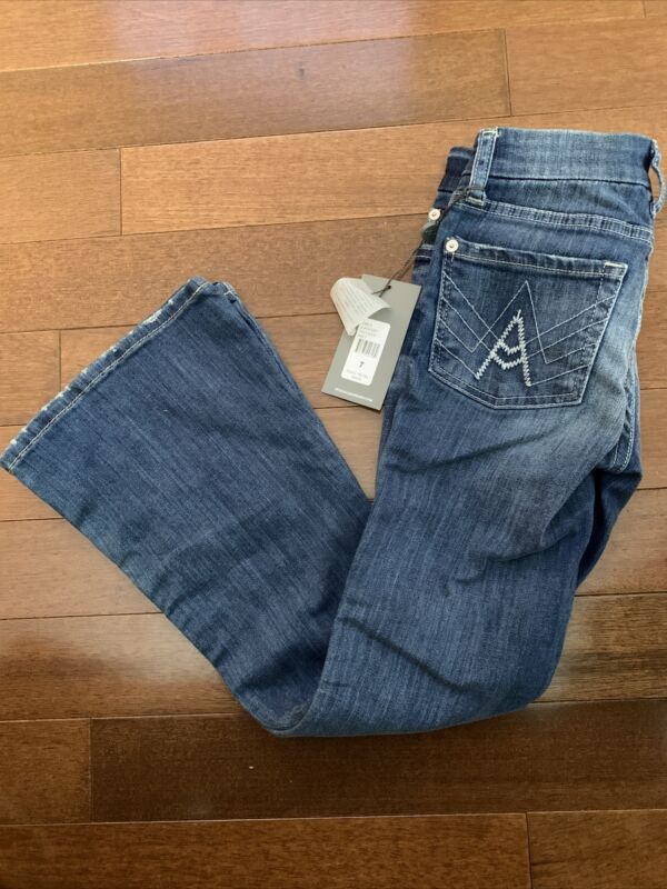 """New Girls Jeans Distressed 7 for all mankind Sz 7 """"A"""" Pocket Flare Leg NWT Mid"""