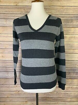 Zara Womens Large Striped Sweater V Neck Slim Fit Long Sleeve