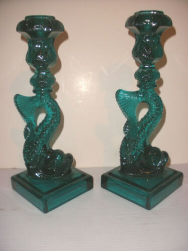 """BEAUTIFUL PAIR VINTAGE MMA IMPERIAL GLASS DOLPHIN CANDLESTICKS 10.5"""""""