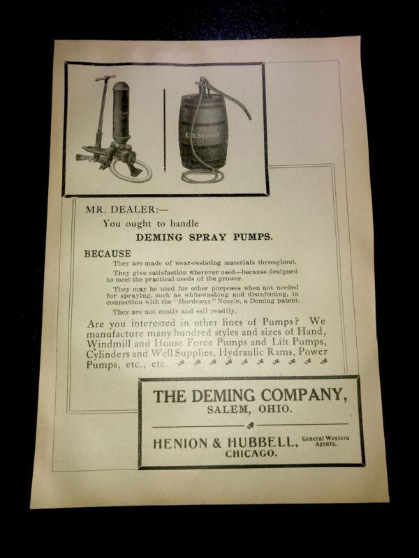 1908 Deming Pump Sprayer Farm Advertising - Salem - Ohio