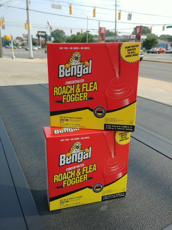 (2 Boxes) Bengal 55201 3Pk Roach/Flea Indoor Fogger Odorless Dry Fog