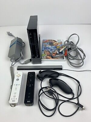 Nintendo Wii Black Console Bundle RVL-001 Tested with  Accessories and game