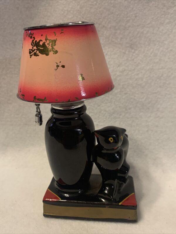 Vintage EVANUS Figural Lighter Ceramic Black Cat Lamp w/ Pull Chain Shade