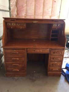 Vintage oak roll out desk