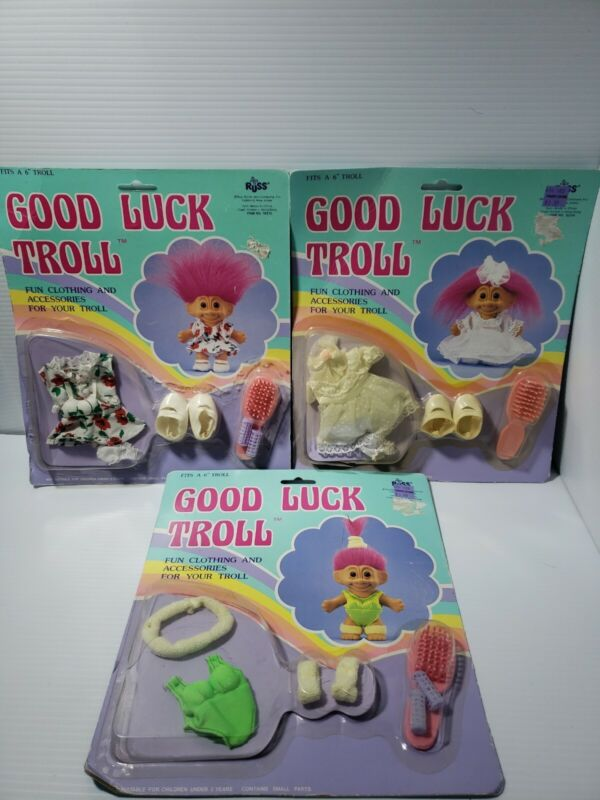 """NEW VTG LOT GOOD LUCK TROLL CLOTHING & ACCESSORIES OUTFITS BY RUSS FITS 6"""" TROLL"""