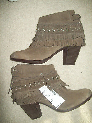 NEW NAUGHTY MONKEY TAUPE BROWN LEATHER FRINGE BOOTIES SIZE 8.5 MSRP $125/NO BOX