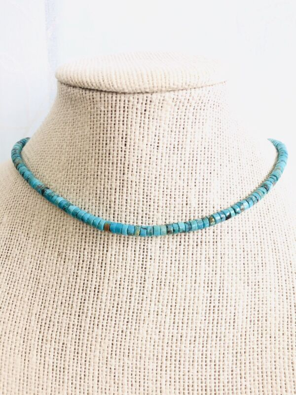 New Native American 2x4mm Heishi Natural Turquoise Sterling Silver Necklace 17.5